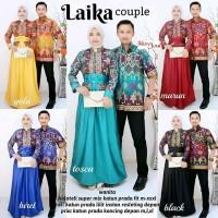 Baju Batik Couple Laika Gamis Panjang Hem Kemeja Cowok Lengan Pendek