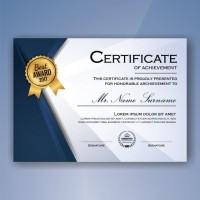 Cetak Piagam A4 Fancy Paper Linen   Logo Emboss & Emas