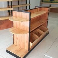 Rak Etalase Kue Roti Bakery Full Kayu Jati Belanda Murah Keren
