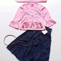 Baju Muslim Anak Perempuan Little Pineapple Pony Pink Muda Rok Denim