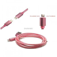 DISKON  Double Side Micro USB & Lightning Plug USB Cable Charger Cabl