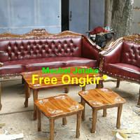 Kursi Tamu Jati Louis Bolong 3111+Meja Besar+Meja Kecil Sofa Jepara
