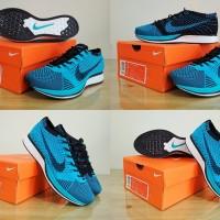 SEPATU NIKE Casual / Sneakers / Olahraga FLYKNIT RACER (Blue Chlorine)