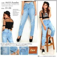 Celana Jeans Boyfriend Bigsize Dior 8413 MURAH
