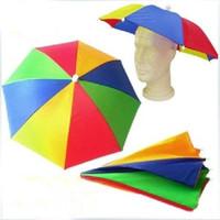 Payung Topi / Topi Payung / Payung Kepala motif PELANGI / RAINBOW