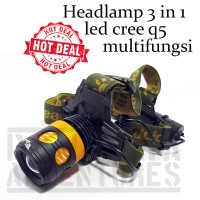 Romusha Headlamp Senter Kepala 3 IN 1 Multifungsi Lampu Sepeda Led Q5
