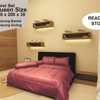 Sprei Set polos MERAH BATA - Queen Size Ukuran 160 x 200