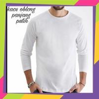 Jual Kaos oblong polos putih lengan panjang - kaos putih polos panjang Murah
