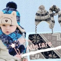Set Topi Kupluk dan Syal Anak untuk Winter / Musim Dingin MURAH