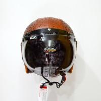 Helm Retro Bogo Fino Kulit Bintik Coklat KODE BN9704