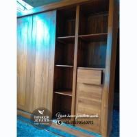 Lemari Pakaian 4 Pintu Sliding & Laci, Almari Minimalis Kayu Jati