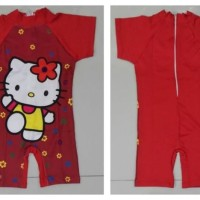RNKD42 - Baju Renang Anak Diving Red Hello Kitty Flower MURAH