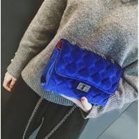 tas pesta clutch beludru biru fashion chanel import d41301