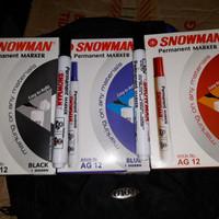 Spidol Permanent Marker Snowman AG 12 (spidol hitam . biru . merah)