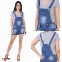 JSK 1742 Celana Pendek Baju Kodok Jeans Overall Short Wanita