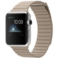 Apple Watch 2015 42mm Stainless Steel Case with Stone Leather Loop (M)