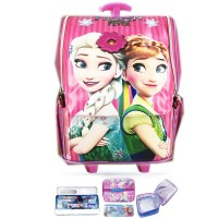 Tas Troley Sekolah Anak TK Frozen Elsa Pita 3D Timbul Jepang LBKP