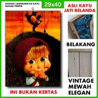 Poster Masha and the Bear 2 MTB02 Kayu Vintage Asli Dinding Rumah/kafe