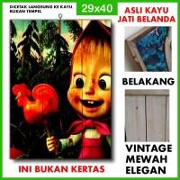 Poster Masha and the Bear 1 MTB01 Kayu Vintage Asli Dinding Rumah/kafe