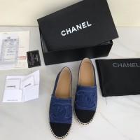 Sepatu Chanel Espadrilles Canvas Denim Biru Dongker Mirror 2018