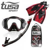 Tusa Visio Tri-Ex Adult Travel Set UP-3521QB-MB RED Alat Snorkeling