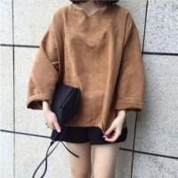 Kaos Sabrina Fashion Wanita Pakaian Blouse Top Atasan Cotton Korea New