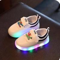 Sepatu kets lampu warna putih hitam termurah | Rainbow Canvas LED