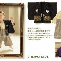 STB-BW007 B2W2 Boys Black Beige Kimono Set