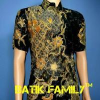 Hem Batik Cowok Kemeja Kenanga Abu Abu Hitam Elegant Fashion Terbaru