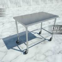 Meja Beroda / Stainless Steel Mobile Work Table with Cross Bar