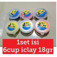 6pcs iclay cup 18gr per set, amos i-clay clay slime, mainan anak edu