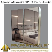 Lemari Pakaian 2 PIntu Sliding HPL ( premium ) rel gantung full cermin