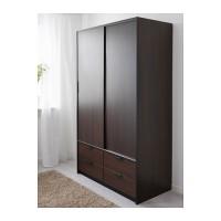 IKEA TRYSIL Lemari pakaian dg pnt geser/4 laci,cokelat tua 118x61x202