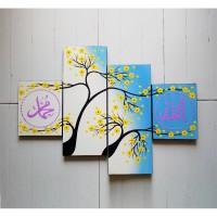 lukisan minimalis kaligrafi panel biru
