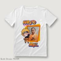 Kaos Foto Nama Dewasa Naruto NL028 Putih uk M, L dan XL