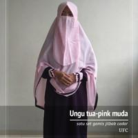 Set gamis jilbab dan cadar wolfis murah berkualitas