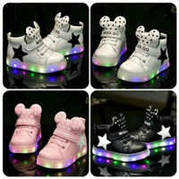 Sz 26-30 Sepatu Anak Lampu Led Import Model Minnie Dot - 3 Warna
