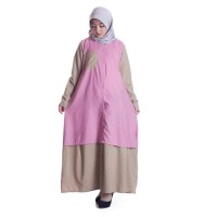 Long Dress Atasan Muslim Wanita FELISHA DRESS PINK Model Terbaru