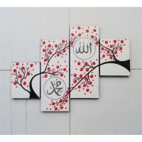 lukisan minimalis kaligrafi panel bunga sakura merah dot aborigin