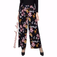 best product Celana Kulot Panjang Wanita Motif Warna Hitam Motif Bung