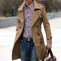 Black Men's Stylish Double Breasted Long Trench Coat Men Casual