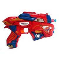Brick Lego Puzzle Mainan Pistol Tembakan Soft  Gun Plus Spiderman