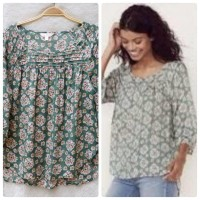 LAUREN LC CONRAD Blouse Full Flower Green