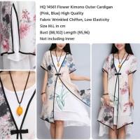 Flower Kimono Outer Cardigan (BLUE) M,L - 14561