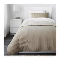 IKEA KARIT Penutup tempat tidur 180x280 cm, sarung bantal, krem