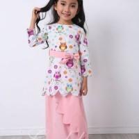 Setelan Baju Muslim Anak Gamis Perempuan Putih Rok Bandana Pink 2 3 4