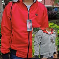 jaket Bolak Balik warna Merah abu abu custom Hoodie Parasut