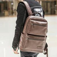Tas ransel punggung kulit pria wanita / bodypack laptop kuliah kerja