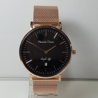 Jam Tangan Pria Alexandre Christie AC8566MD Simple Life Rosegold Blac