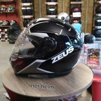 helm zeus 811 motif hitam putih merah free dark visor